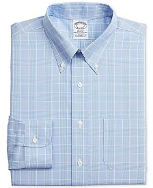Brooks Brothers Men's Regent Slim-Fit Stretch Non-Iron Check Dress Shirt