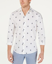 Michael Kors Men's Slim-Fit Stretch Geo-Print Shirt