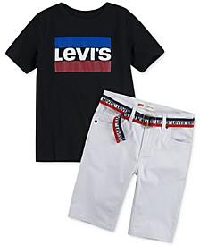 Big Boys Logo-Print T-Shirt & 511™ Belted Slim-Fit Stretch Sueded Shorts