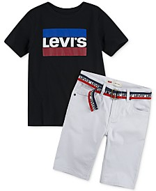 Levi's® Toddler Boys Logo-Print T-Shirt & 511™ Belted Slim-Fit Stretch Sueded Shorts