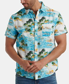 Lucky Brand Men's Tropical Print Short Sleeve Shirt