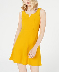 Juniors' Notched Fit & Flare Dress