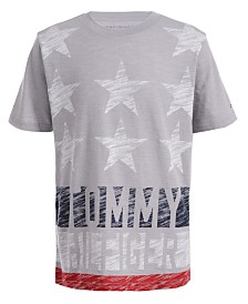 Tommy Hilfiger Big Boys Textured Star & Stripe Logo T-Shirt