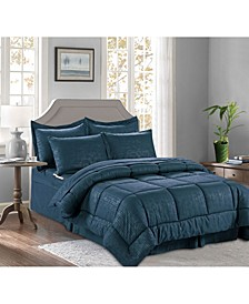 8-Piece Bamboo Bed-in-a-Bag Comforter Set Includes Bed Sheet Set with Double Sided Storage Pockets King/Cal King