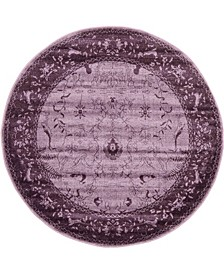 Aldrose Ald4 Violet 6' x 6' Round Area Rug