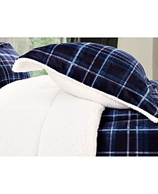 Elegant Comfort Softest, Coziest Heavy Weight Plaid Pattern Micromink Sherpa - Backing Premium Quality Down Alternative Micro - Suede 3-Piece Reversible Comforter Set, King/California King