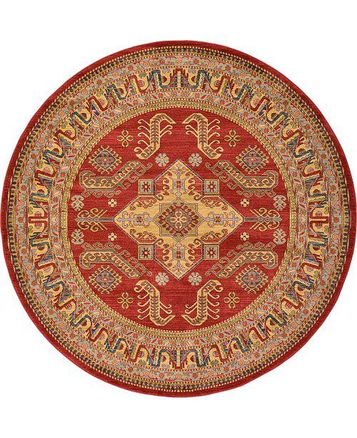 Bridgeport Home Harik Har5 Red 8' x 8' Round Area Rug
