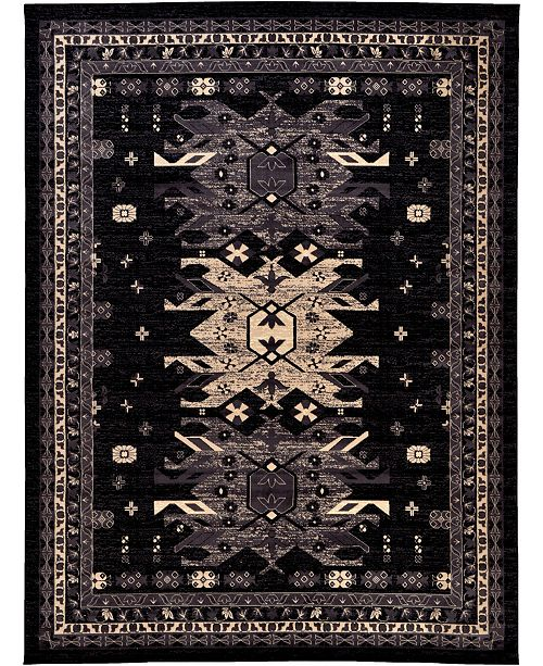 "Bridgeport Home Charvi Chr1 Black 9' 10"" x 13' Area Rug"
