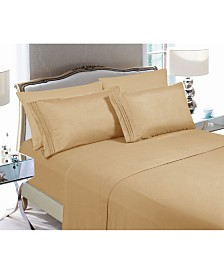 Elegant Comfort 6-Piece Luxury Soft Solid Bed Sheet Set California King