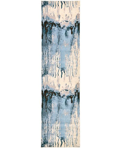 "Bridgeport Home Newwolf New3 Light Blue 2' 7"" x 10' Runner Area Rug"