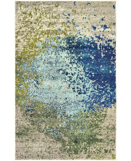 "Bridgeport Home Newwolf New2 Blue 3' 3"" x 5' 3"" Area Rug"
