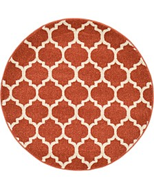 "Arbor Arb1 Light Terracotta 3' 3"" x 3' 3"" Round Area Rug"