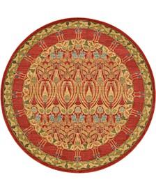 Orwyn Orw3 Red/Tan 6' x 6' Round Area Rug