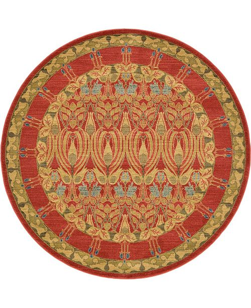 Bridgeport Home Orwyn Orw3 Red/Tan 6' x 6' Round Area Rug