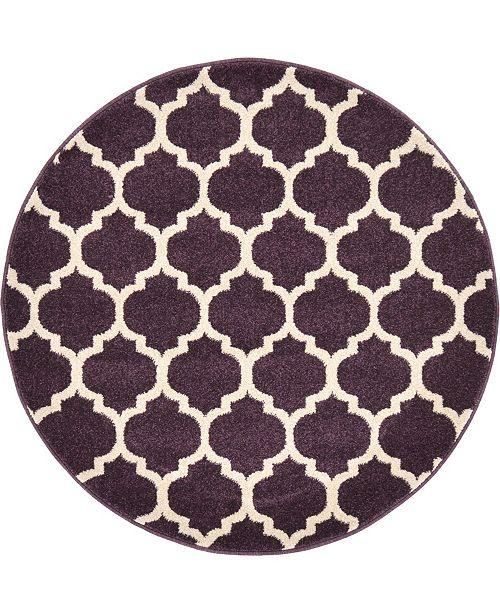 """Bridgeport Home Arbor Arb1 Purple 3' 3"""" x 3' 3"""" Round Area Rug"""