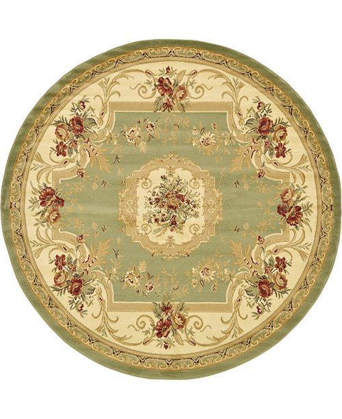 Bridgeport Home Belvoir Blv3 Green 8' x 8' Round Area Rug