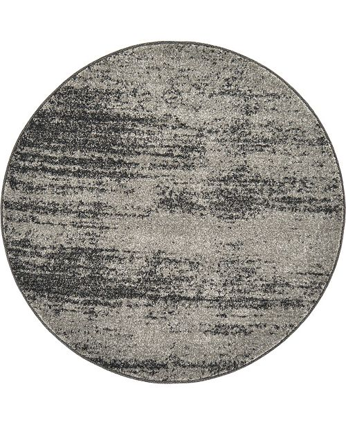 "Bridgeport Home Lyon Lyo3 Dark Gray 3' 3"" x 3' 3"" Round Area Rug"