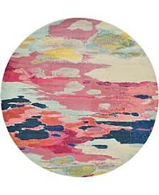 Newwolf New4 Pink 8' x 8' Round Area Rug