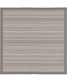 Bridgeport Home Pashio Pas4 Gray 6' x 6' Square Area Rug