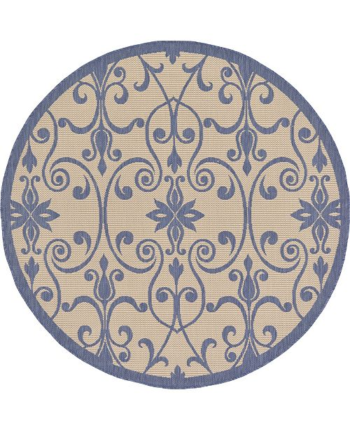 Bridgeport Home Pashio Pas5 Blue 6' x 6' Round Area Rug