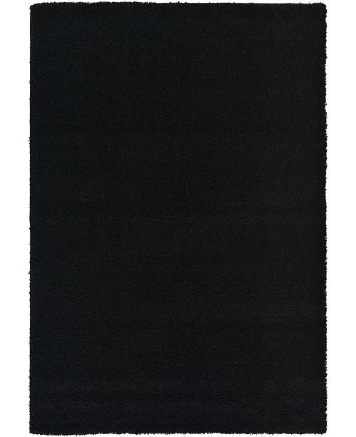 Bridgeport Home Exact Shag Exs1 Jet Black 6' x 9' Area Rug
