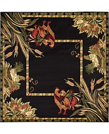 Bridgeport Home Roost Roo1 Black 6' x 6' Square Area Rug