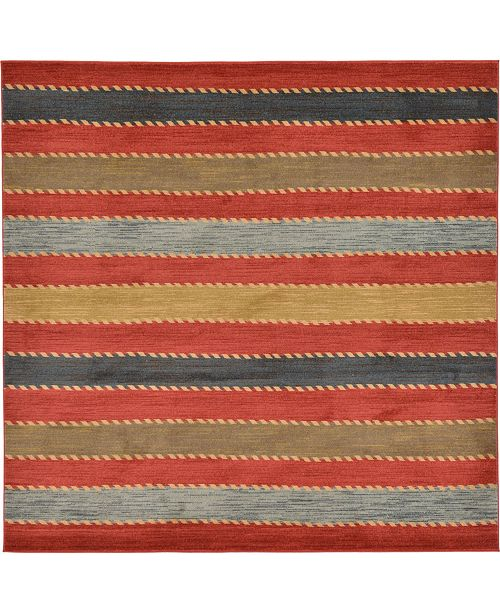 Bridgeport Home Ojas Oja1 Red 8' x 8' Square Area Rug