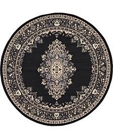 Birsu Bir1 Black 8' x 8' Round Area Rug