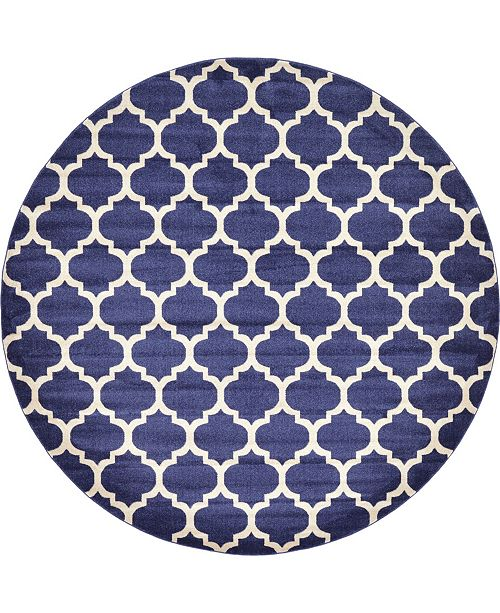 Bridgeport Home Arbor Arb1 Dark Blue 10' x 10' Round Area Rug