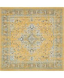 "Wisdom Wis7 Yellow 8' 4"" x 8' 4"" Square Area Rug"