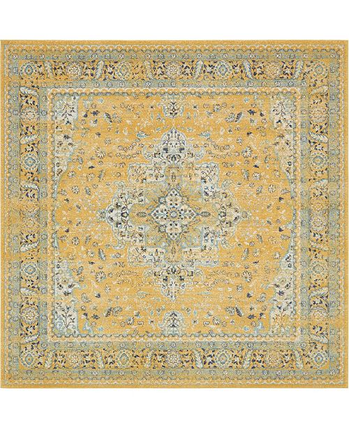 "Bridgeport Home Wisdom Wis7 Yellow 8' 4"" x 8' 4"" Square Area Rug"