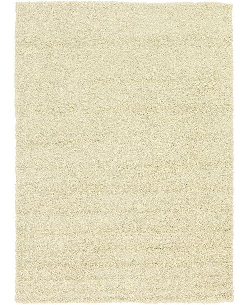 Bridgeport Home Exact Shag Exs1 Pure Ivory 7' x 10' Area Rug