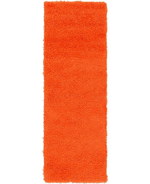 "Bridgeport Home Exact Shag Exs1 Tiger Orange 2' 2"" x 6' 5"" Runner Area Rug"