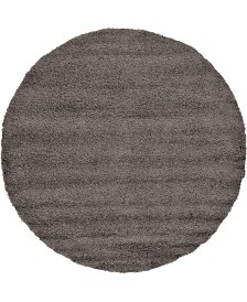 "Bridgeport Home Exact Shag Exs1 Graphite Gray 8' 2"" x 8' 2"" Round Area Rug"