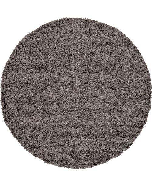"Bridgeport Home Exact Shag Exs1 Graphite Gray 8' 2"" x 8' 2"" Round Area Rug"