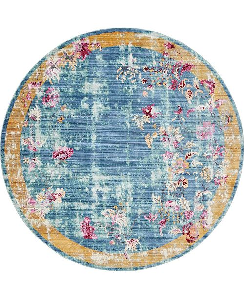 Bridgeport Home Malin Mal1 Blue 6' x 6' Round Area Rug