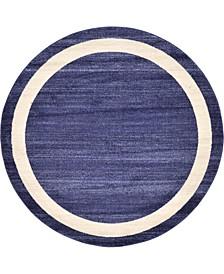 Lyon Lyo5 Navy Blue 6' x 6' Round Area Rug