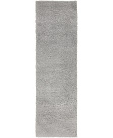 "Salon Solid Shag Sss1 Light Gray 2' x 6' 7"" Runner Area Rug"