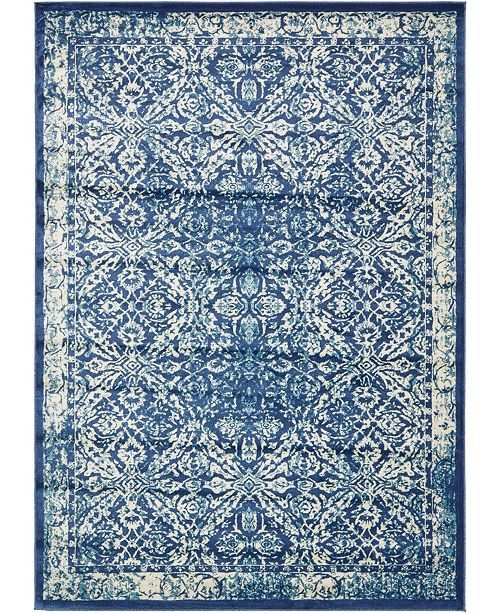 "Bridgeport Home Masha Mas2 Navy Blue 8' x 11' 4"" Area Rug"