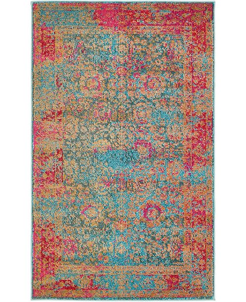 "Bridgeport Home Sana San8 Blue 3' 3"" x 5' 3"" Area Rug"