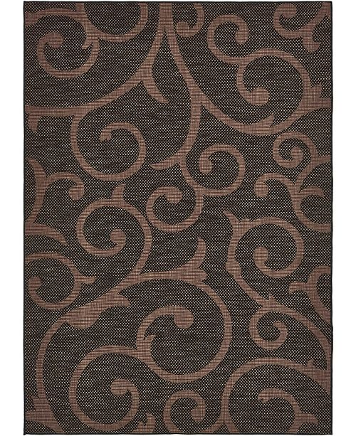Bridgeport Home Pashio Pas7 Chocolate Brown 7' x 10' Area Rug
