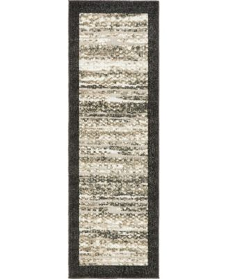 Pashio Pas4 Black 2' x 6' Runner Area Rug