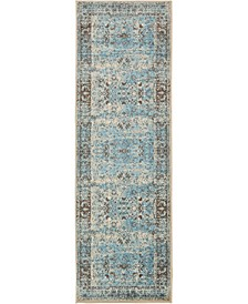 """Linport Lin1 Ivory/Turquoise 3' x 9' 10"""" Runner Area Rug"""