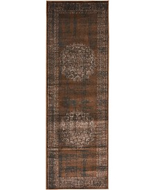 Bridgeport Home Linport Lin5 Chocolate Brown 2' x 6' Runner Area Rug