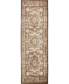 "Bridgeport Home Linport Lin7 Chocolate Brown 3' x 9' 10"" Runner Area Rug"