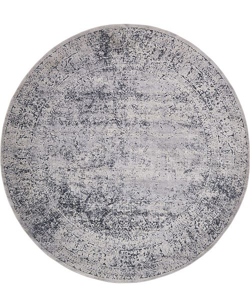 Bridgeport Home Odette Ode3 Dark Blue 8' x 8' Round Area Rug