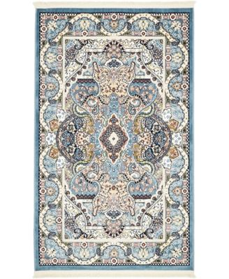 Zara Zar2 Blue 3' x 5' Area Rug