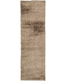 "Salon Solid Shag Sss1 Brown 2' x 6' 7"" Runner Area Rug"
