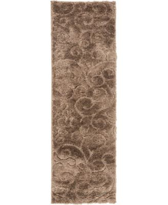 "Malloway Shag Mal1 Brown 2' x 6' 7"" Runner Area Rug"