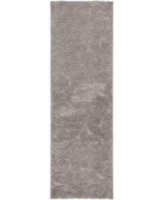 """Malloway Shag Mal1 Dark Gray 2' x 6' 7"""" Runner Area Rug"""